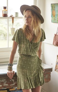 62a7e32f7d Auguste Gypsy Stars Frill Wrap Dress Khaki find it and other fashion  trends. Online shopping for Auguste clothing. The gypsy stars wrap dress  from auguste.