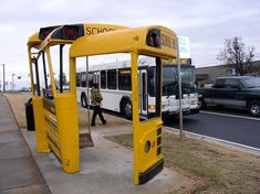 """Old school buses reborn as bus shelters    """"At the intersection of West Broad and Alps Road in Athens, Georgia, if you're looking to catch a bus, you can wait at the region's most innovative (and recycled) bus stop. It's made from three old school buses (years 1962, 1972 and 1977), with the seat taken from a decommissioned Atlanta city bus."""""""
