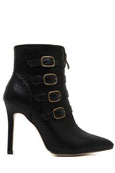 Snake Print Buckle Stiletto Heel Boots #heels #booties #shoes