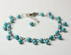Turquoise charm bracelet handmade ani design by AnniDesignsllc, $12.95