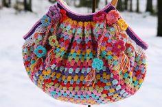 a crochet granny bag | Love the colors!