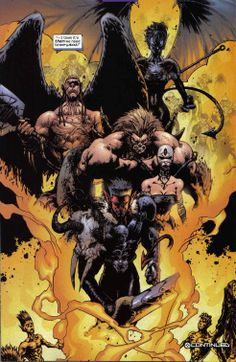 """Azazel claims that many years ago Neyaphem -an ancient horde of demonic humanoid #mutants from biblical times- were in an epic battle with a group of angelic #xenophobic mutants -Cheyarafim, Victorious in the battle banished the """"demons"""" 2 an alternate dimension 4 all eternit. Azazel, was the only one who was able 2 breach the dimensional void 4 brief periods of time due 2 his #teleportation. His only hope 2 return 2 earth was by impregnating women because his children are linked 2 his dimension"""