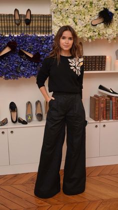 Miroslava Duma at Elisabeth von Thurn und Taxis party at Chatelles fashion week: wide-legged black trousers, black metallic embellished sweater Fashion Week, Work Fashion, Paris Fashion, Fashion Spring, Trendy Fashion, Fashion Outfits, Mira Duma, Miroslava Duma, Business Outfit Frau