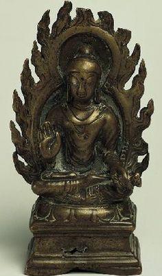10th century, Kashmir, Shakyamuni, bronze with silver inlay, at the Norton Simon Museum