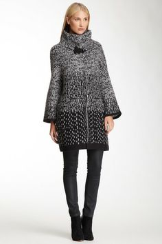 Emporio Armani Mixed Print Wool Blend Coat on HauteLook