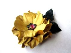 Yellow genuine lether flower with leaves/brooch/