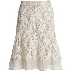 NIC+ZOE Heirloom Flowers Skirt (76 CAD) ❤ liked on Polyvore featuring skirts, bottoms, saias, lace, white skirt, floral knee length skirt, lacy skirt, flower print skirt and lace skirt