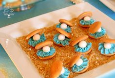 """Vanilla wafer """"oyster"""" cookies from a Little Mermaid girl birthday party! See more party ideas at CatchMyParty.com!"""