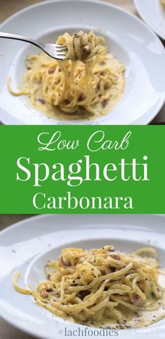 Am Nudelhimmel: Low Carb Spaghetti Carbonara (bekannt aus Galileo) - Low Carb Abendessen - Rezepte Lunch Recipes, Healthy Dinner Recipes, Keto Recipes, Vegetarian Recipes, Low Carb Spaghetti, Spaghetti Recipes, Pasta Spaghetti, Low Carb Noodles, Zoodle Recipes