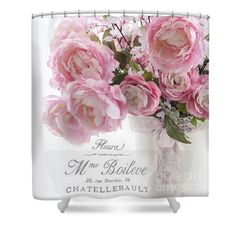 Shabby Chic Romantic Pink Pastel Peonies With French Script - Paris French Pink Peonies In Vase Shower Curtain by Kathy Fornal