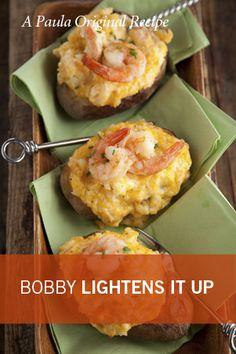 Bobby's Lightern Spicy Shrimp Stuffed Potatoes