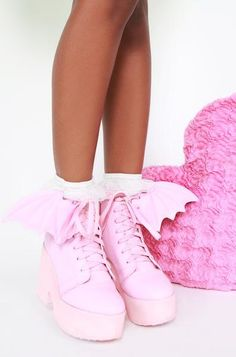 3a59f576dff Bat Wing Boot - Pink Womens Gothic Boots