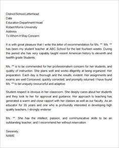 sample letter of recommendation for teacher 18 documents in word sample templates