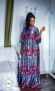Robe longue boubou africaine fait avec du tissu voile à motif wax African Wear Dresses, Latest African Fashion Dresses, Conservative Fashion, Kimono Dress, Dressy Dresses, Africa Fashion, African Design, Chic Dress, Designer Dresses