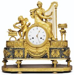 A GILTBRONZE AND VERDE ANTICO MARBLE MANTEL CLOCK, DIRECTOIRE 30,000 — 50,000 EUR 39,452 - 65,753USD. Unsold