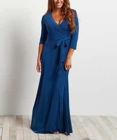 Another great find on #zulily! Teal Tie-Front Three-Quarter Sleeve Maxi Dress #zulilyfinds