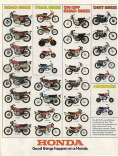 Vintage Motorcycles Classic 1974 Honda Line Up Full Line Vintage Motorcycle Poster Print Vintage Honda Motorcycles, Honda Bikes, Honda Cb750, Custom Motorcycles, Honda 125, Enduro Vintage, Vintage Bikes, Motorcycle Posters, Motorcycle Types