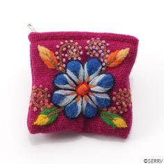 Fuchsia Floral Coin Purse A Peruvian embroidery technique creates vivid flowers on this woolen coin purse.http://serrv.org #fairtrade #handmade #spring2014 #felt #embroidery #flower #blue #fuschsia #peru #artisanmade #coinpurse #fun #brightcolors