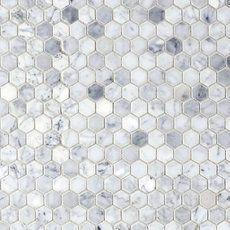 Bianco Carrara Polished Hexagon Marble Mosaic is our master bath shower floor❤️❤️ Honed Marble, Marble Mosaic, Decorative Tile Backsplash, Kitchen Backsplash, Mirror Backsplash, Wall Tile, Kitchen Flooring, Bathroom Floor Tiles, Shower Floor