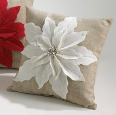 White Poinsettia Felt Holiday Design Decorative Throw Pillow 17 Inch on Beige Fabric