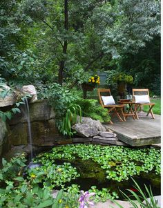 Noting: very large stones; deck over-hangs pond edge