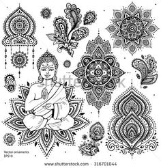 Tatto Ideas 2017 Woman Flower Vecteurs de stock et clip-Art vectoriel Mandala Tattoo Design, Dotwork Tattoo Mandala, Mandala Art, Mandala Symbols, Ganesha Tattoo, Buddha Tattoo Design, Indian Mandala, Simbolos Tattoo, Body Art Tattoos