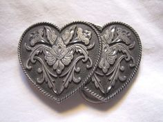 Vintage Pewter Double Floral Heart Flower Belt Buckle 1992 Siskiyou M5 #SiskiyouBuckleCo