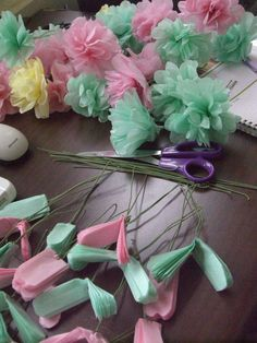Tissue paper flowers Something for the living room (Diy Paper Flowers) Handmade Flowers, Diy Flowers, Fabric Flowers, Origami Flowers, Paper Flowers For Kids, Tissue Paper Flowers, Streamer Flowers, Tissue Poms, Tissue Paper Decorations