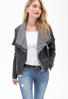 Faux Leather & Tweed Jacket | LOVE21 - 2000058892