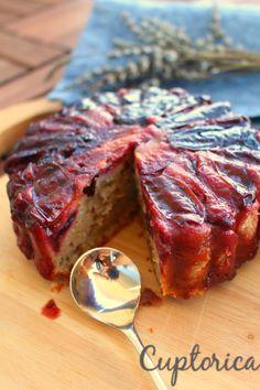 Upsidedown plums cake with cardamom Plum Cake, Steak, Cakes, Food, Prune Cake, Essen, Cake, Pastries, Torte
