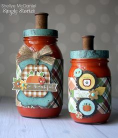 Papered Cottage by Shellye McDaniel: Pumpkin Spice Duo Mason Jar Cozy, Mason Jars, Weekend Projects, Craft Projects, Country Crafts, Simple Stories, Spice Jars, How To Distress Wood, Paper Gifts