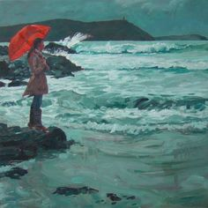 """David Axtell; Oil, Painting """"The weather girl"""""""