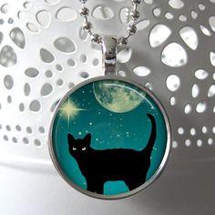 Black cat art pendant cat jewelry black cat by uphereInMyTree, $9.50