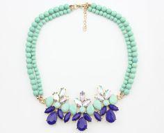 Statement Necklace, Neon Statement Necklaces, Blue Statement Necklace