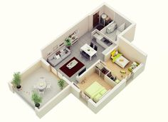 "1 Bedroom Apartment Plans 50 one ""1"" bedroom apartment/house plans 