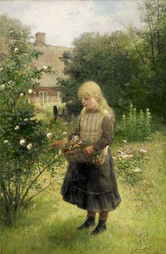 Johan Severin Nilsson ~ Picking Flowers, 1887 ~ (Swedish: 1846-1918)
