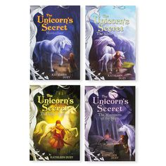 A young orphan girl adopts a stray mare, only to discover that the horse is actually a unicorn. The girl must risk her life to keep the unicorn and her baby safe. These are perfect books for new chapter book readers. The quartet includes Moonsilver, Mount