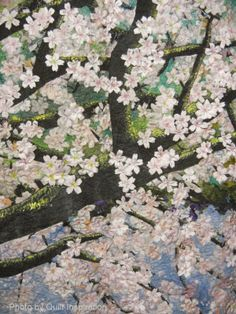 "close up, Cherry Blossoms #7, 58 x 38"", by Noriko Endo (Tokyo, Japan). photo by Quilt Inspiration"