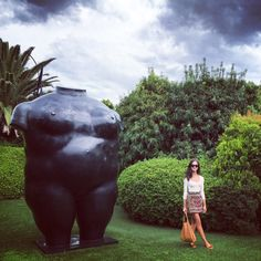 Gabé Hirschowitz stands next to a Botero sculpture at the Frederick R. Weisman Art Foundation in Beverly Hills, July 24, 2017
