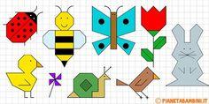Cornicette di primavera a quadretti da disegnare e colorare Pattern Blocks, Pattern Art, Drawing For Kids, Art For Kids, Math Crafts, Graph Paper Art, Butterfly Quilt, Mat Online, Bullet Journal Inspiration