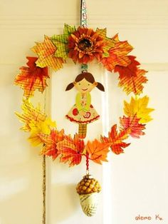 paper and felt fall wreath; Autumn Wreaths, Autumn Trees, Crafts For Kids, Arts And Crafts, Autumn Crafts, Autumn Activities, Fall Flowers, Paper Art, Seasons