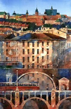 surreal watercolor painting of Warsaw by Tytus Brzozowski