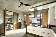 Ajay Patel Residence | Dipen Gada & Associates Indian Home Design, Indian Home Decor, Kota Stone Flooring, Dipen Gada, Hall Interior Design, My House Plans, Brick Architecture, Luxury Homes, Kitchen Design