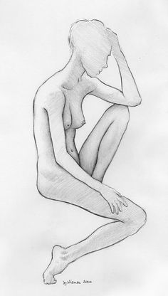 """Jeffrey Wiener, """"Leah, Seated""""  Small, delicate pencil drawing of a lovely model, with her elbow resting on her knee. Drawn from life at the Governor's Island Art Fair during TheGreatNude.tv's Sketch Session demonstration."""