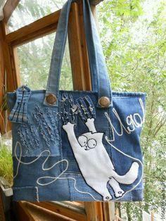 Diy Bag Hobo Recycled Denim Ideas For 2019 Denim Handbags, Purses And Handbags, Sacs Tote Bags, Jean Purses, Diy Sac, Denim Purse, Cat Bag, Denim Crafts, Handmade Handbags