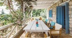 outdoor dining table in the Traditional villa for 8 in North Zakynthos, Greece, near The Peligoni Club with a pool