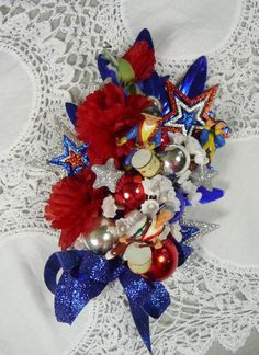 Patriotic Corsage Spirit of 76 Independence Day Red