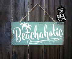 beach beach decor beach sign beach decor coastal beach decorations beach house decor beach wall art beachaholic sign by SurfShackSigns on Etsy Surf Decor, Decoration Surf, Beach Wall Decor, Beach House Decor, Decoration Pictures, Home Decor, Beach Cottage Style, Coastal Style, Coastal Decor