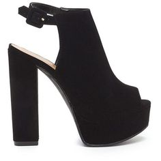 Chic Power Cut-Out Chunky Platform Heels ($26) ❤ liked on Polyvore featuring shoes, black, high heel shoes, high heeled footwear, black mules, mule shoes and peep-toe shoes