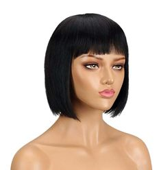 100% Remy human hairwig with soft, short, straight, 8 inch . Hair is easy to comb, glueless and has virtually no shedding. Wig uses classic cap with elastic lace, adjustable straps accommodates different size heads and allows easy application and removal, which makes it perfect for everyday use. Fits head circumference 22 inches.